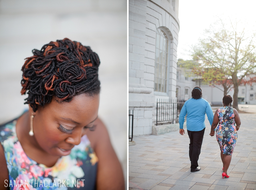natural hair bride engagement session